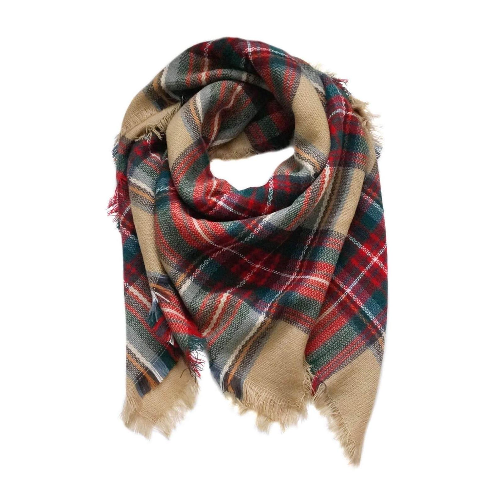beige plaid scarf blanket scarf tartan scarf flannel