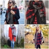 Red Double Sided Red Plaid Scarf