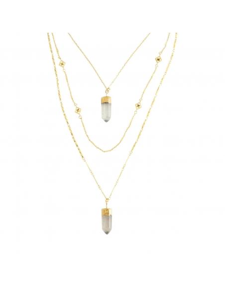 Quartz Stone Layered Necklace