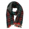 Dark Green Double Sided Tartan Plaid Scarf