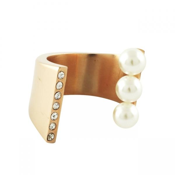 Pearl Crystal Cuff Ring