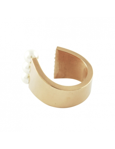 Parel Kristallen Cuff Ring