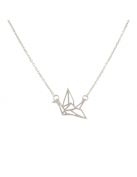 Silver Origami Swan Necklace