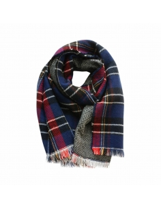 Dark Blue Double Sided Tartan Plaid Scarf
