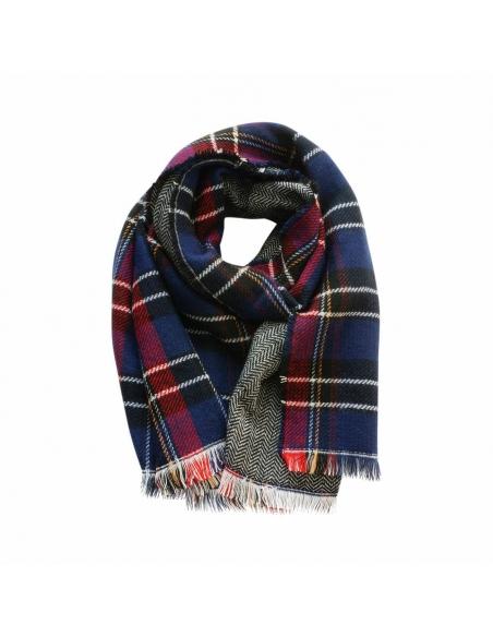 Donkerblauwe Dubbelzijdig Geruite Sjaal