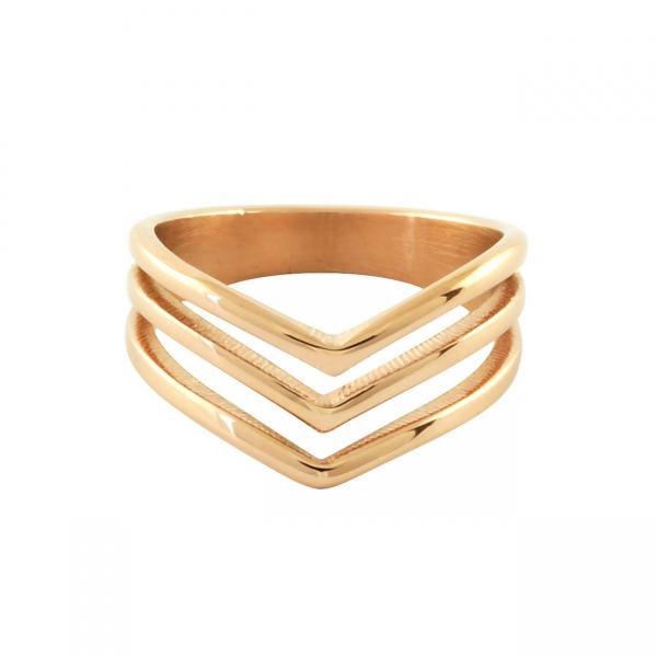 Triple Chevron Ring - Rose Gold
