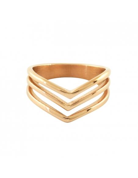 Drie Chevron Ring - Roze Goud