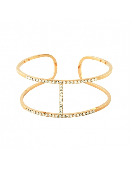 Pave H Cuff - Rose Gold