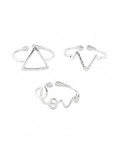 Love Heartbeat Triangle Ring Set