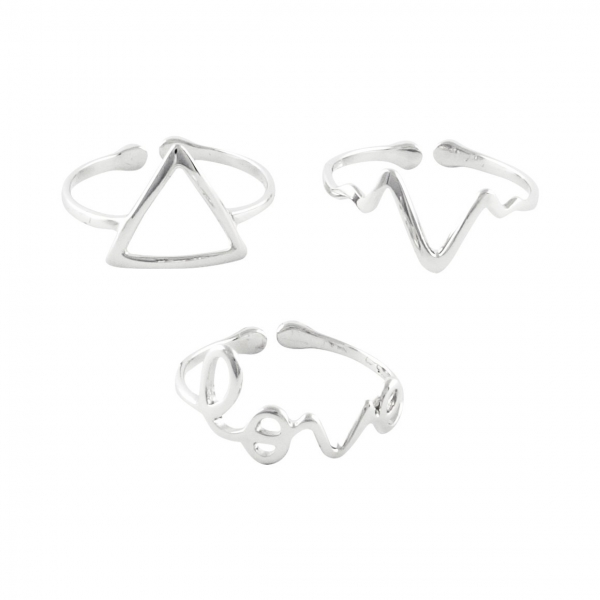 Love Heartbeat Triangle Ring Set - Silver