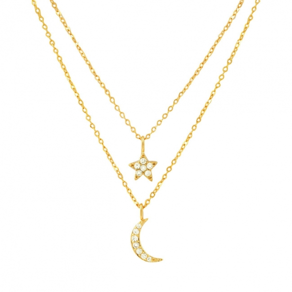 Moon and Star Layered Necklace - Gold