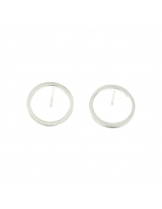 Frame Circle Studs - Silver