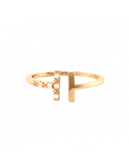 Pave Double T Ring