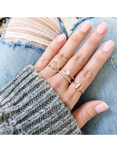 Kristallen Dubbele T Ring