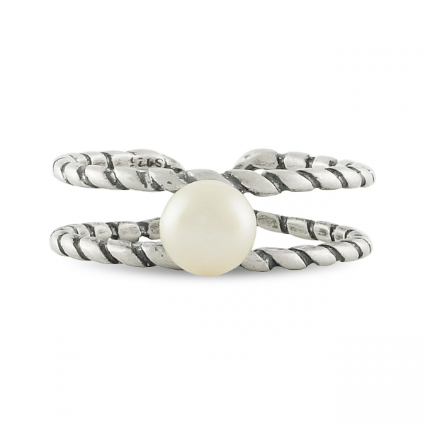 925 Sterling Silver Pearl Double Bar Ring
