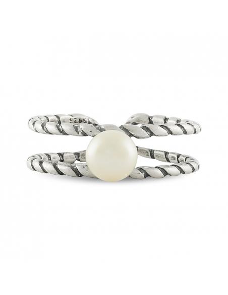 925 Sterling Zilveren Parel Dubbele Staaf Ring