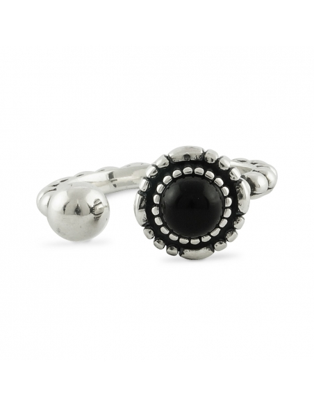 Sterling Silver Black Onyx Cuff Ring