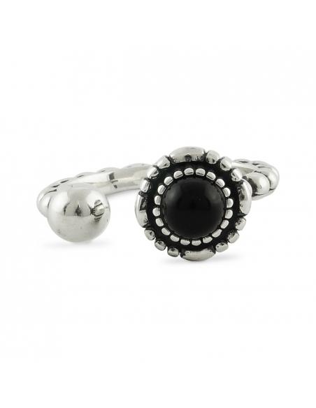 Sterling Zilveren Zwarte Onyx Cuff Ring