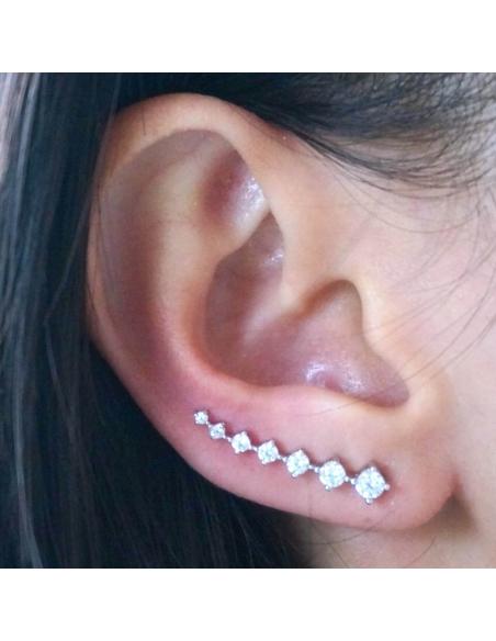 Sterling Zilveren Ear Pins met kristallen