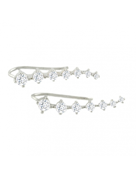 Sterling Silver Ear Pins With Crystals