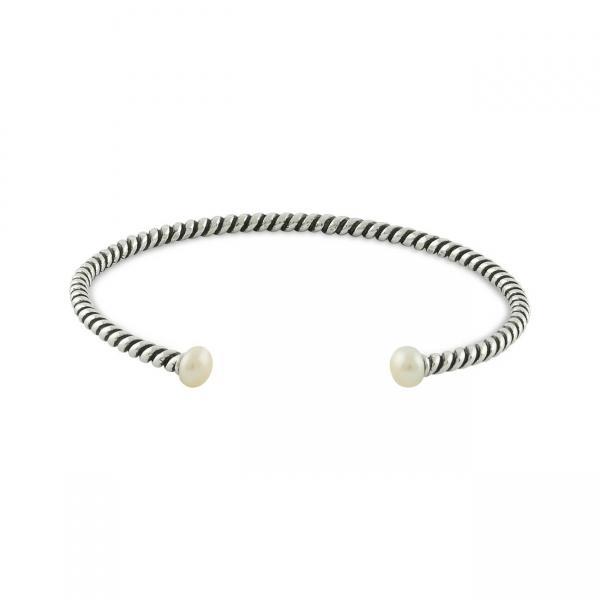 Sterling Zilveren Gedraaide Armband met Parels