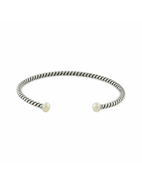 Sterling Silver Pearl Twisted Cuff