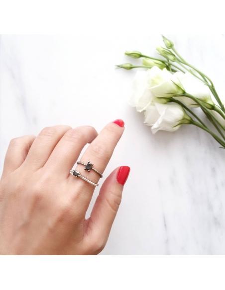 Sterling Zilveren Ring met Dubbele Onyx