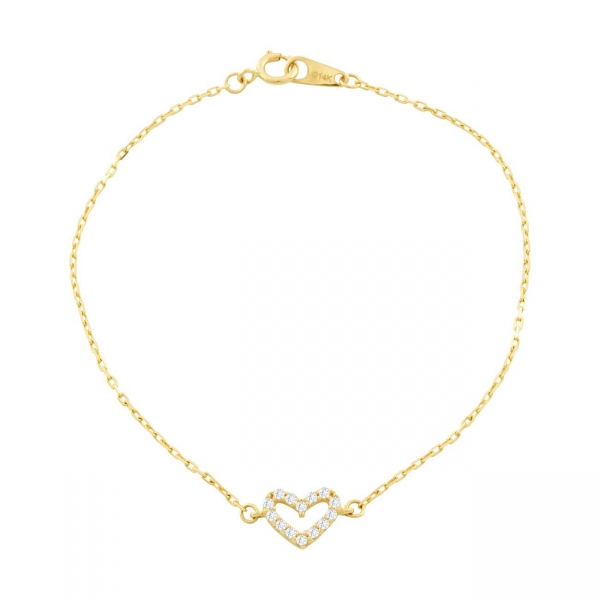 14K Solid Gold Pave Open Heart Bracelet