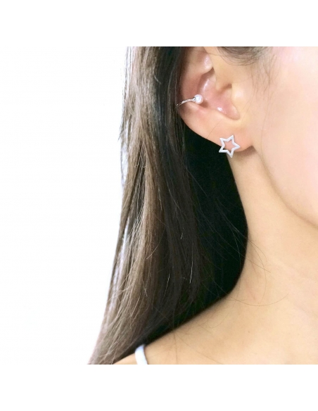 925 Sterling Silver Pearl Ear Cuff