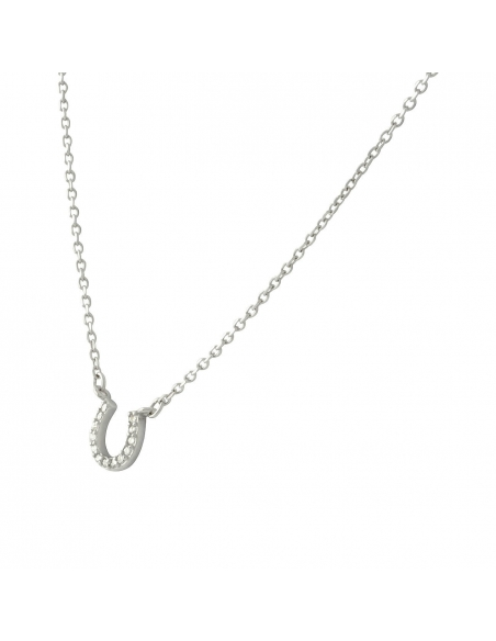 925 Sterling Silver Pave Horseshoe Necklace