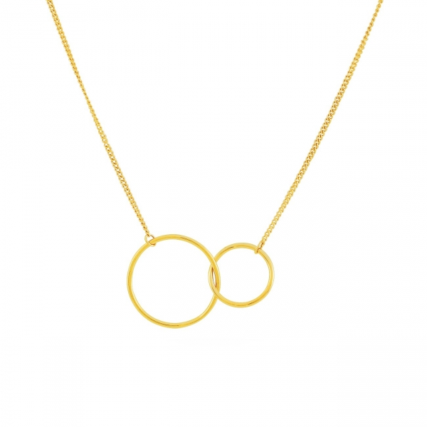 Double Rings Necklace-Gold