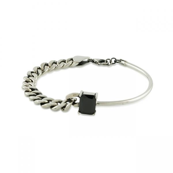 Sterling Silver Onyx Stone-detail Bracelet