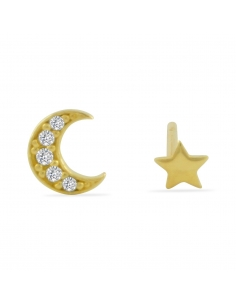 Star and Moon Stud Set