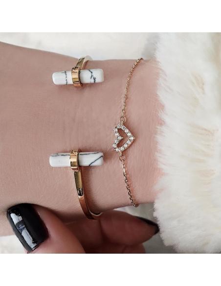 14K Puur Gouden Open hart-armband
