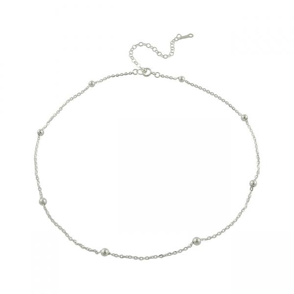 Silver Mini Beads Choker Necklace
