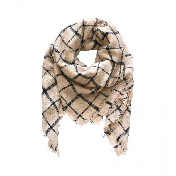 Creme Zwart Geruite Sjaal