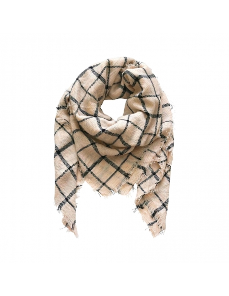 Cream Black Grid Scarf