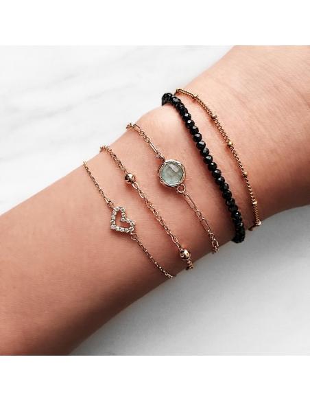 Gelaagde armband met steentjes