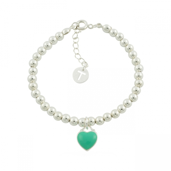Beaded Heart Bracelet - mint