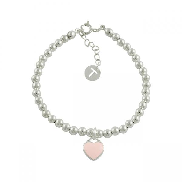 Beaded Heart Bracelet - Pink