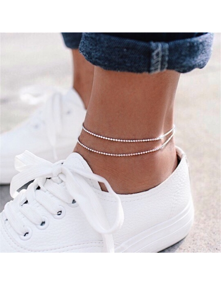 Layered Beaded Anklet