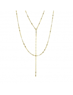 Gold Layered Long Lariat Necklace