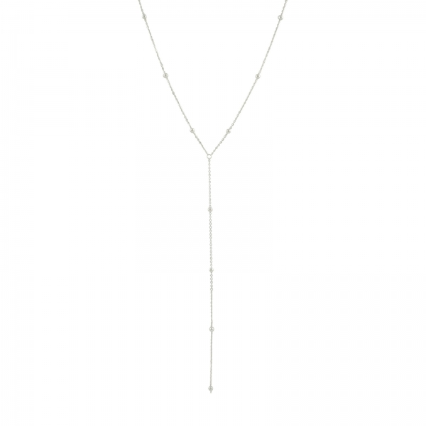 Silver Bead Lariat Necklace
