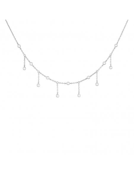 Jewel Fringe Choker - Silver