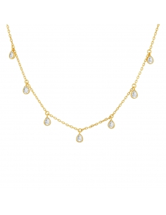 Teardrop Station Choker Necklace - gold