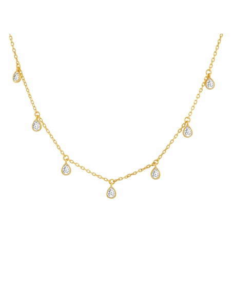 Druppelvormige Kristallen Choker Ketting - goud
