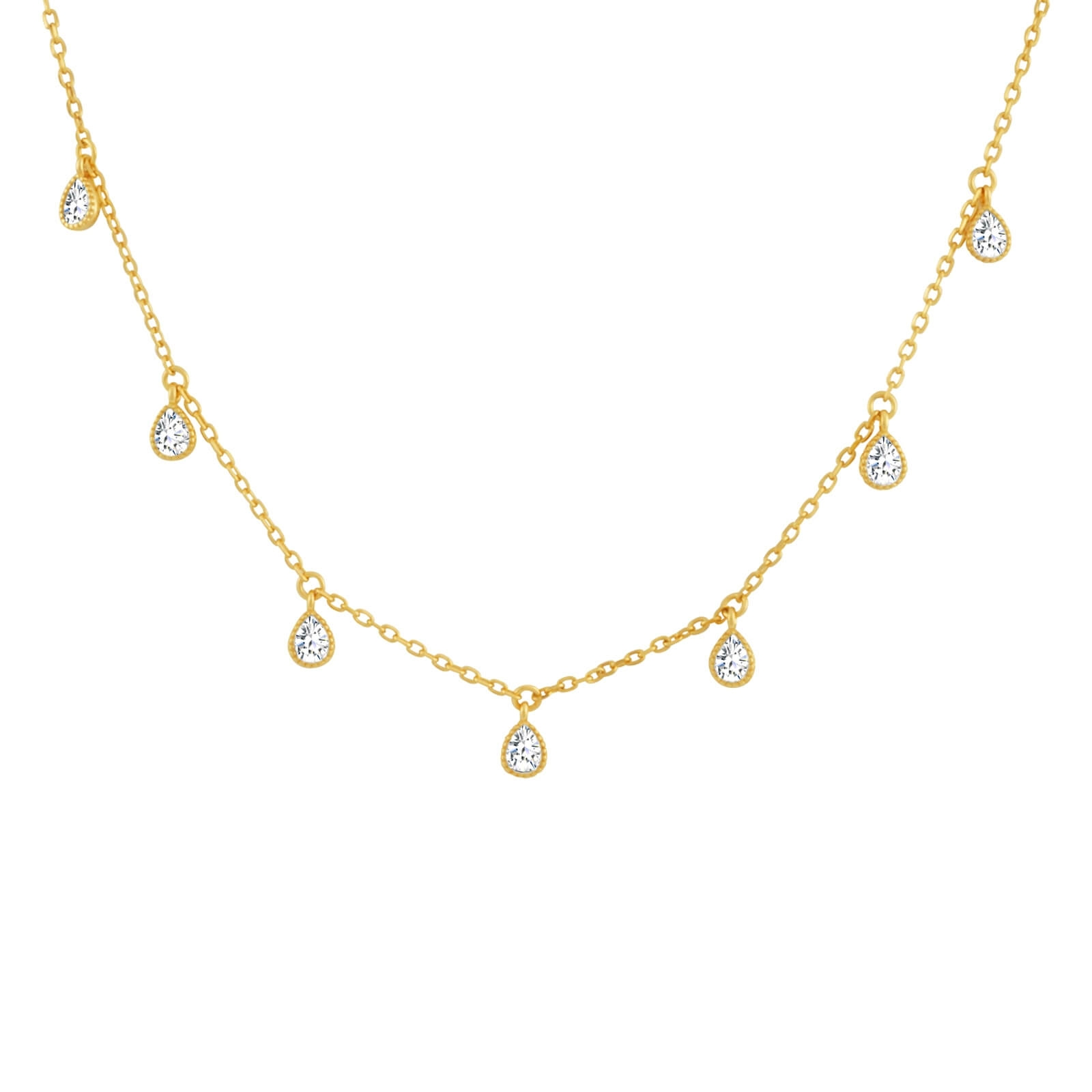 Teardrop crystal choker necklace 18k gold vermeil sterling silver teardrop station choker necklace gold aloadofball Image collections