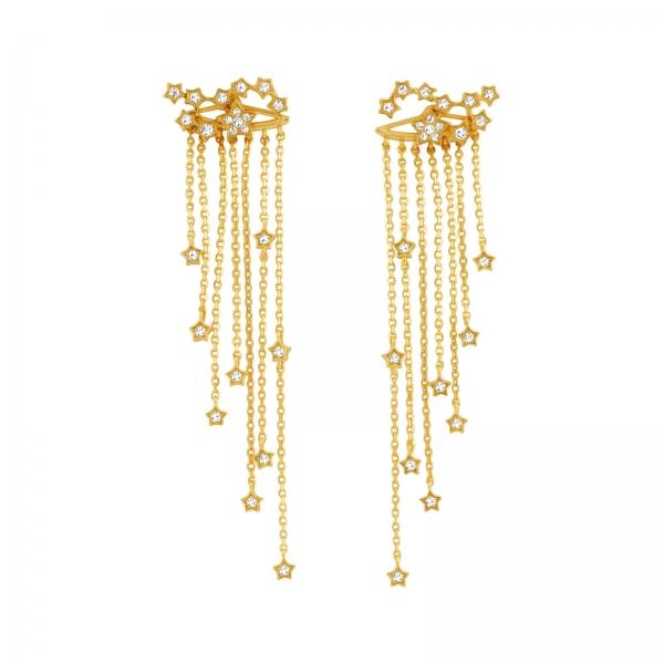 Constellation Fringe Earrings - gold