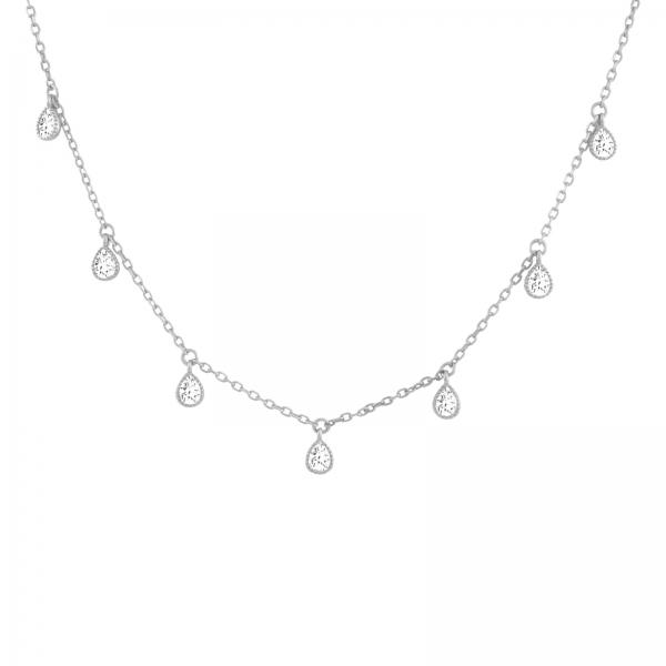 Druppelvormige Kristallen Choker Ketting - zilver