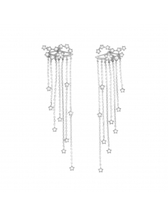 Constellation Fringe Earrings - silver